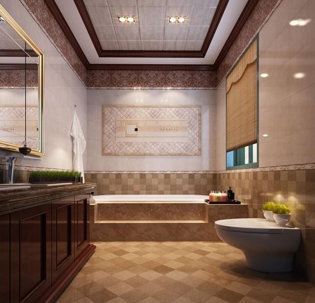 简约欧式卫生间瓷砖装修效果图